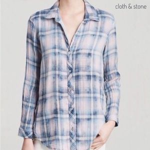 Anthropologie Cloth & Stone Distressed Dyed Top M